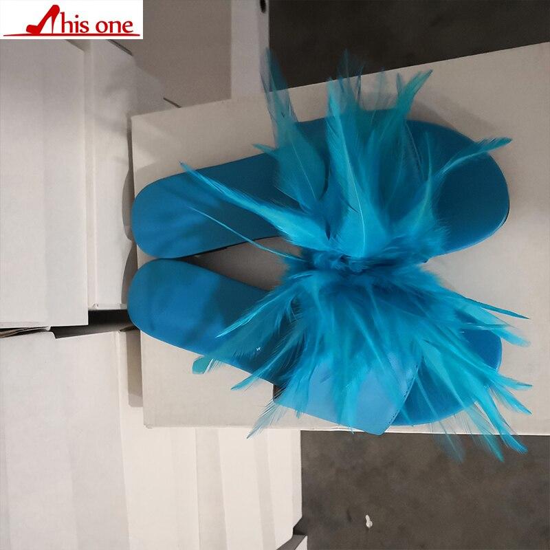 Cette marque Design grande taille 35-47 loisirs plume Top qualité plage femmes chaussures d'été chaussures plates femme pantoufles tongs