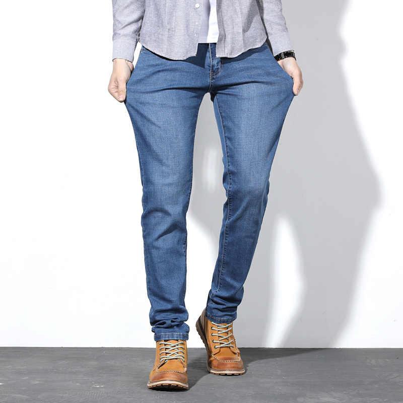 Autunno 2019 Dei Jeans Degli Uomini di Modo di Affari Dritto Sciolto Blu Denim Stretch Pantaloni Degli Uomini Classici Più Il Size28-44 46 48