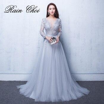 2020 Evening Dresses 3/4 Sleeves Appliques Formal Evening Gown Long Prom Party Dress vestido de festa