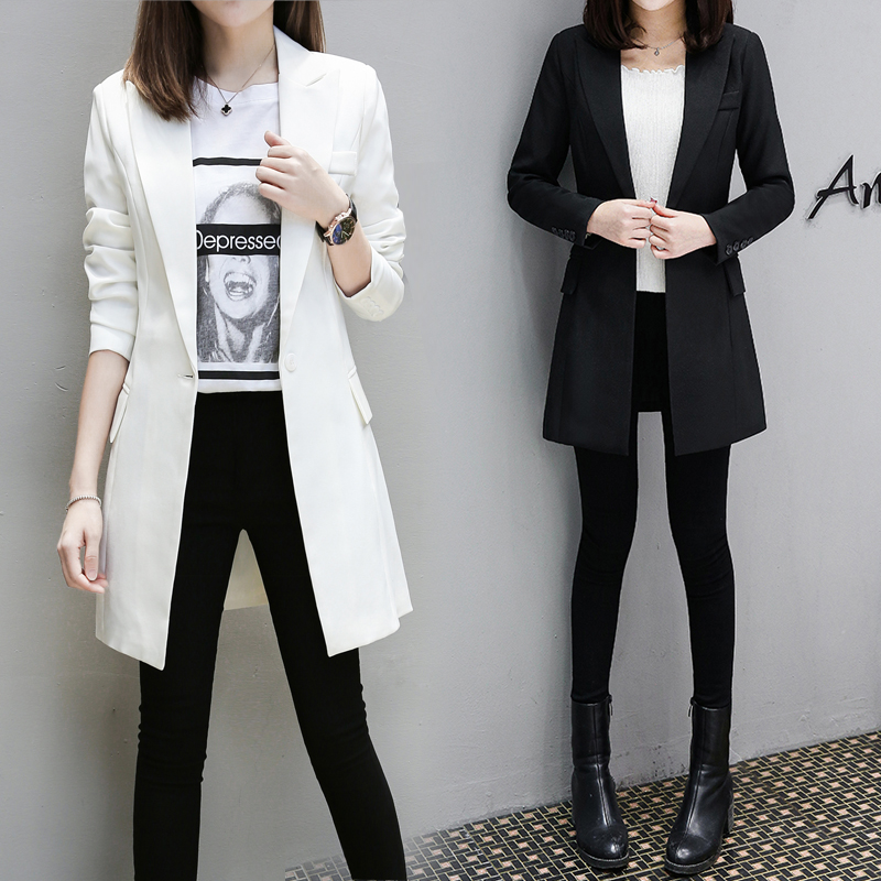 blazer set feminino Medium long slim suit jacket spring and autumn new Korean casual plus size suit jacket tide blazer mujer 3XL