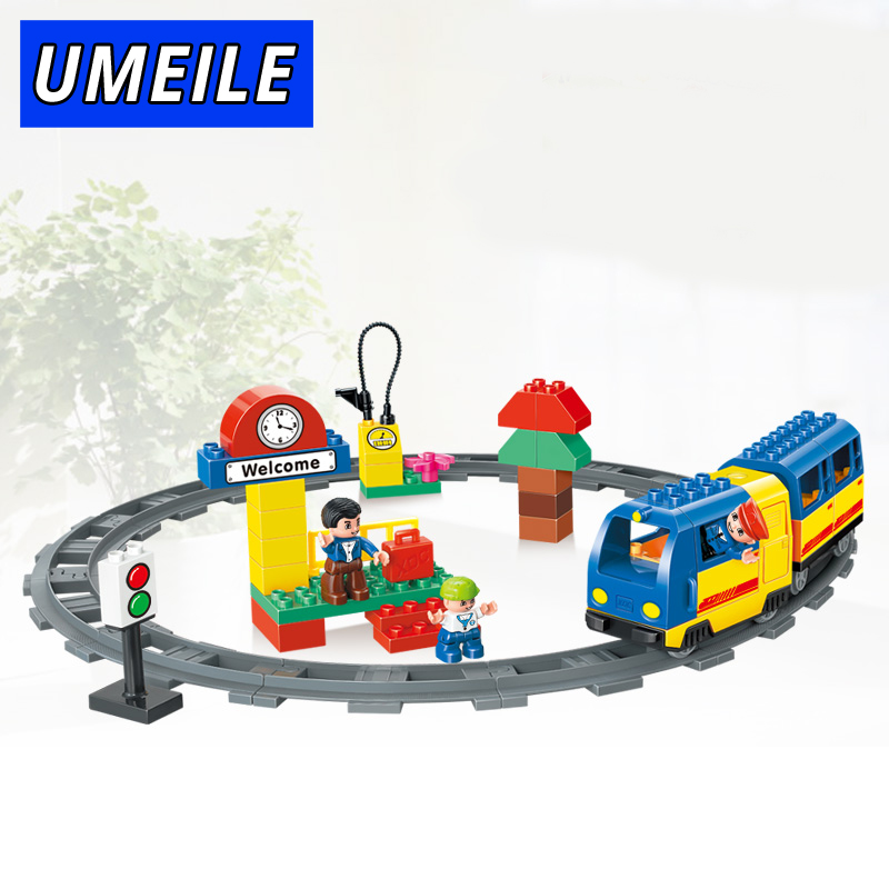 UMEILE Brand 51 Pcs Railway Track Electric Train Model Block Set Education Baby Toys Train Conductor Compatible With Duplo Gift