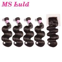 MS Лула волос 4 Связки Малайзии объемная волна с цельнокроеное платье 4x4 Бесплатный Часть Кружева Закрытие 100% человеческих волос связки с зак
