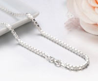 7 Sizes Available Real Pure 925 Sterling Silver Box Chain Necklace Women Men Jewelry Heavy Kolye