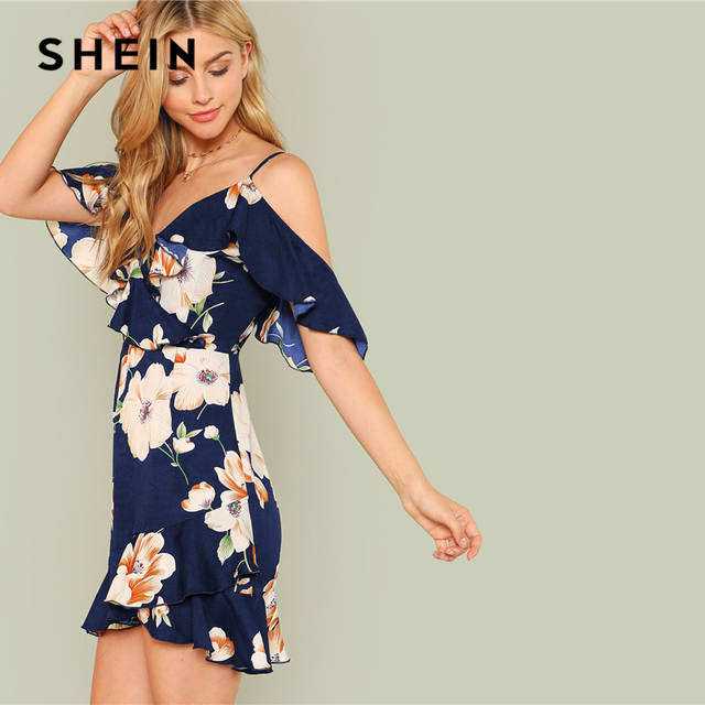SHEIN Multicolor Vacation Backless Boho Bohemian Beach Flounce Cold Shoulder Floral Print Dress Summer Women Casual Dress 1