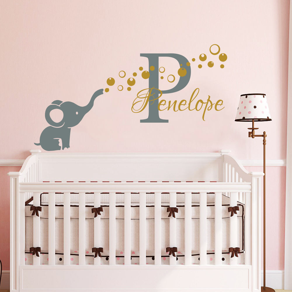 Wall Sticker With elephants+personal name is adjusted! Especially for your baby
