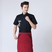 New 3 Color Chef Service Short- Sleeved Hotel Work Clothes Summer Western Restaurant Bread Baking Kitchen