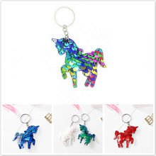 1 Pcs Seven-color Rose Red Double-sided Reflective Sequins Key Fastener Unicorn Bag Hanging Key Plush Keychain(China)