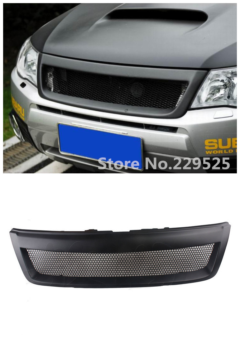 Free Shipping Sport Mesh Front Grille Matte Black Grille For Subaru Forester 2009-2012 STI Black Honeycomb Grill grille