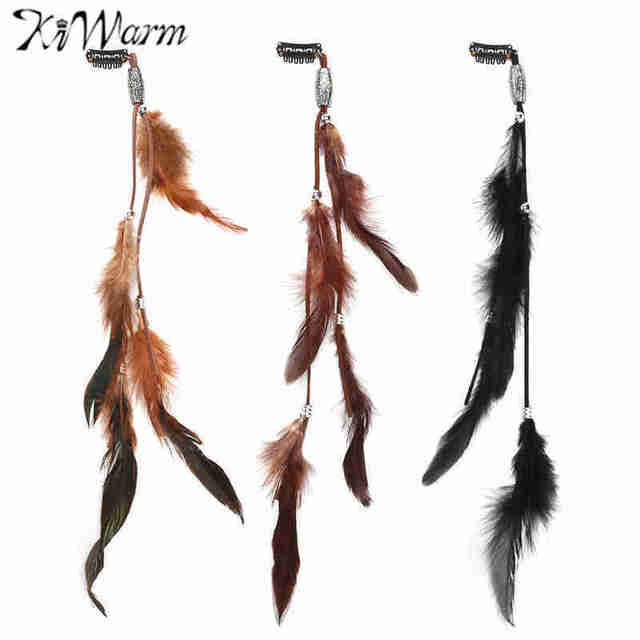 067328cdff872 US $3.07 16% OFF|Kiwarm 3Pcs/set Indian Festival Retro Feathers Clips Hair  Headpiece Tassel Hair Comb Headdress DIY Pretty Decorative Accessories-in  ...