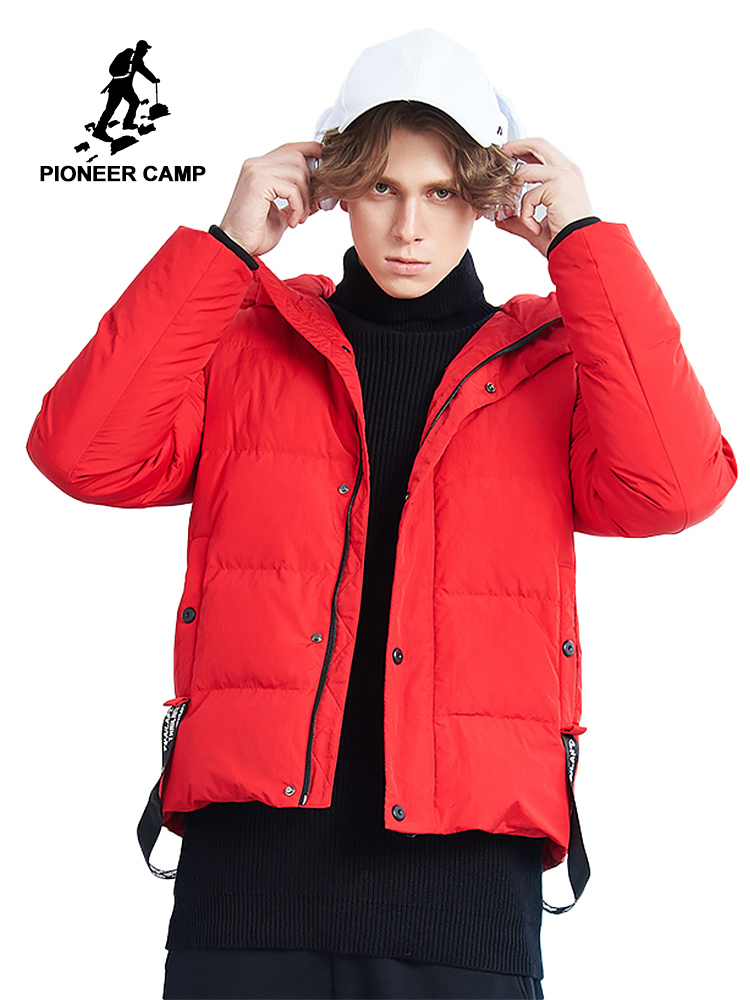 Pioneer Camp 2018 new   down   jacket men brand clothing thick warm duck   down     coat   male top quality red black AYR801403
