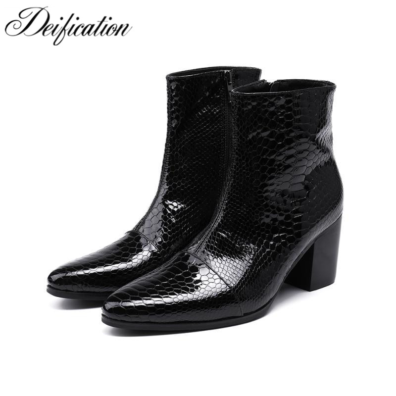 Deification Italian Style Botas Hombre Waterproof Ankle Boots Motorcycle Cowboy Boot Black Men Dress Business Party Martin Boots