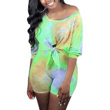 Vintage Casual 2 Pieces Sets Women Playsuits Sexy O Neck Half Sleeve Tie Dye Print Summer Jumpsuits Femme Go Out Wear Bodysuits