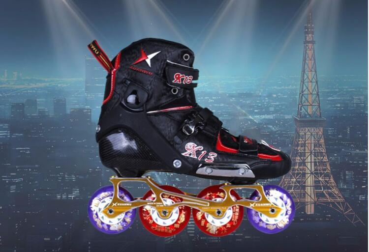 Haute qualité! 2017 nouveau Powerslide adulte professionnel patins à roues alignées chaussures Slalom coulissant FSK Patines en Fiber de carbone