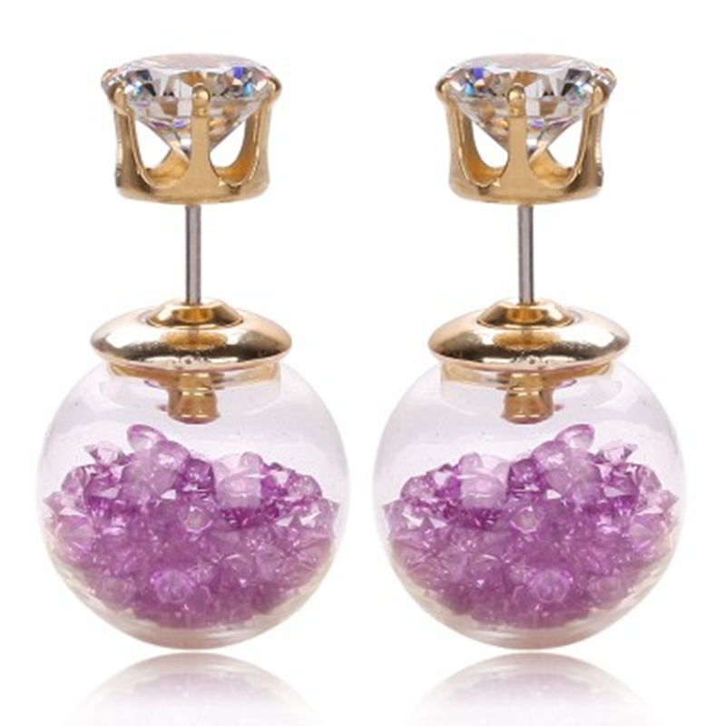 design fashion brand jewelry glass Flowers Crystal stud earring double imitation pearl side Summer style Daisy