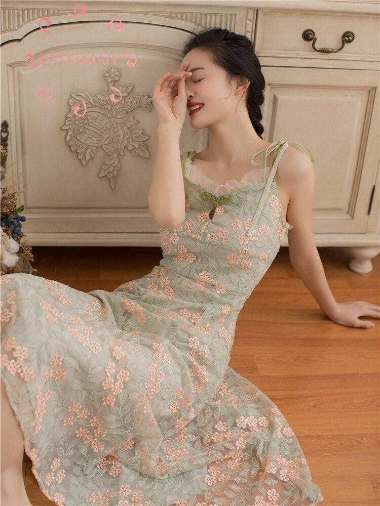 EASYSMALL femmes robe vert fleur mode été plage Sexy dos nu haut de gamme Slim sweetwear taille haute manches courtes robes