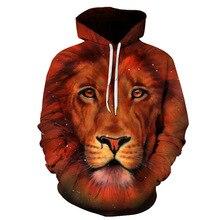 Фотография KOWELL brand new fashion cotton sweatshirts men 3d hoodie men print lion hoodie men plus size 6xl