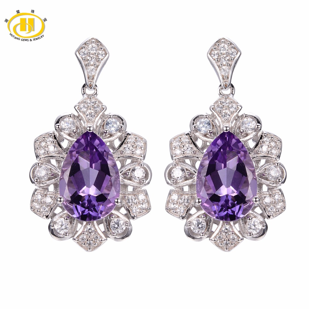 Hutang Stone Jewelry Solid 925 Sterling Silver 5.26 ct Natural Gemstone Brazilian Amethyst Romantic Earrings Fine Jewelry Gift hutang stone jewelry 8 83 ct natural amethyst gemstone solid 925 sterling silver bracelets for women fine fashion jewelry 7 25