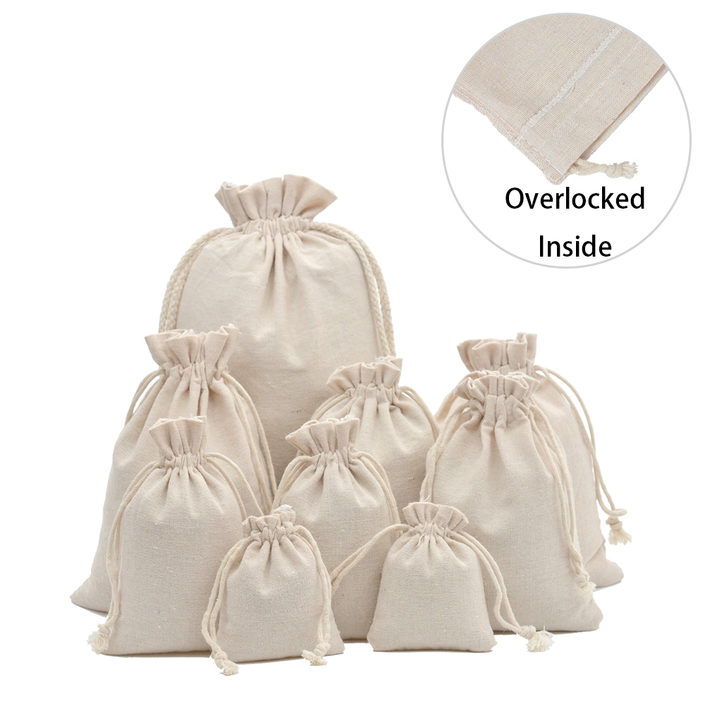 50pcs Reusable Cotton Muslin Gift Bags For Candy Coffee Beans Herb Tea Packaging Wedding Party Favor Bag Linen Drawstring Pouch