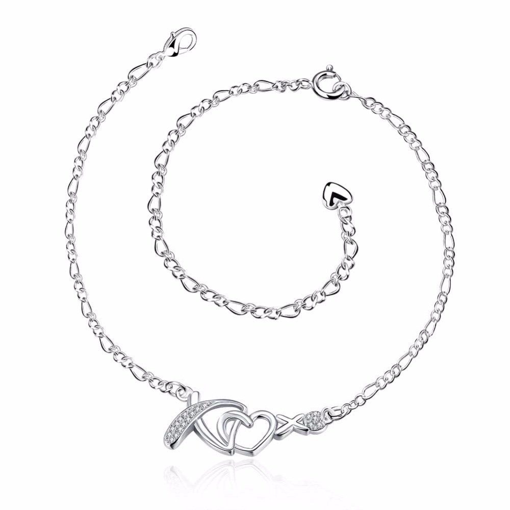 KDA002 Fashion Jewelry Plated Silver Anklet Factory Price Sterling Silver Anklets Crystal XO Heart Pendant