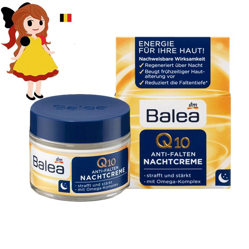 Germany Balea Q10 Anti-wrinkle night Cream Vitamin E Cream Reduce wrinkles fine lines Night Care skin regeneration cream Vegan kenzoki cosmic night cream