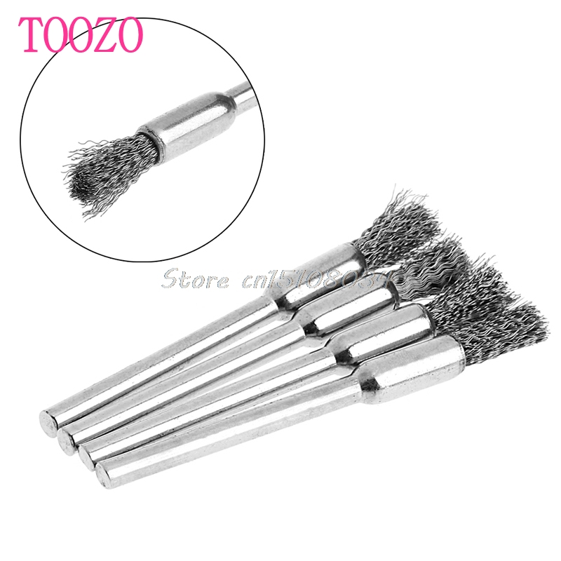 4Pcs 5mm Steel Wire Brushes Polishing Wheel Brush For Tools Mini Brushed Burr S08 Wholesale&DropShip