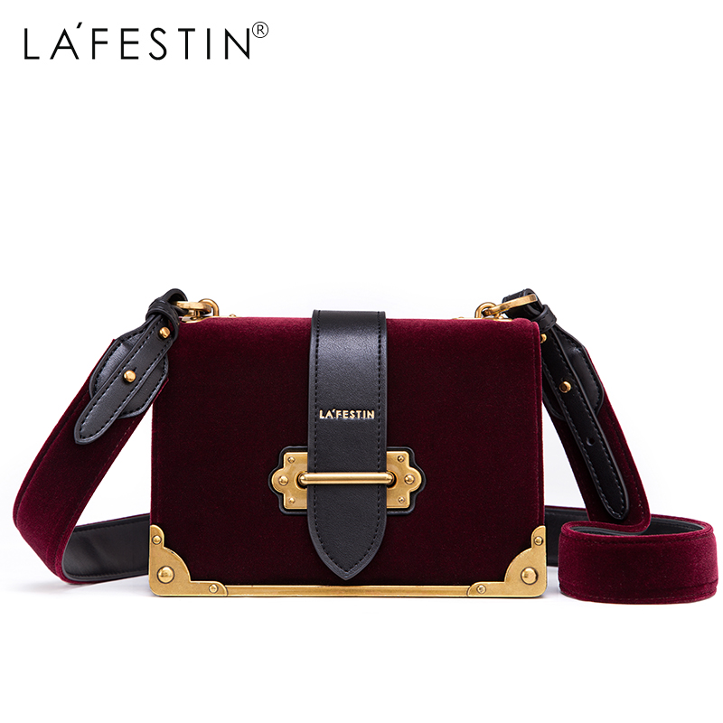 LAFESTIN Hot 2017 Women Shoulder Bag Velvet Designer Handbag Women Brands Luxy Crossbody Luxy Bag Bolsa Feminina sac a main lafestin luxury shoulder women handbag genuine leather bag 2017 fashion designer totes bags brands women bag bolsa female