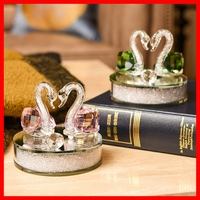 3 Colors Crystal Swan Crafts Glass Paperweight Figurine Gift Crafts Ornaments Figurines Home Wedding Party Decor Gifts Souvenir