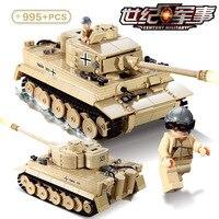 KAZI 995pcs Century ww2 military army Germany figure Panzer King Tiger Tank Building Blocks Bricks Toy 82011 Compatible brands