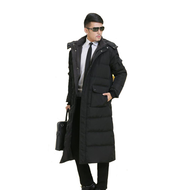 Winter Male Plus Size Down Coat Ultra Long Overknee Thickening Business Casual Overcoat Cold-proof Men Outwear MSTS31