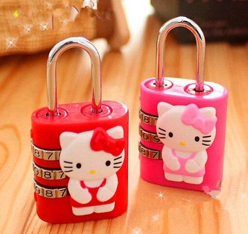 Hello Kitty Opbergkast.1x Kawaii Hello Kitty 4 Cm Code Lock Kast Hangslot Delicate