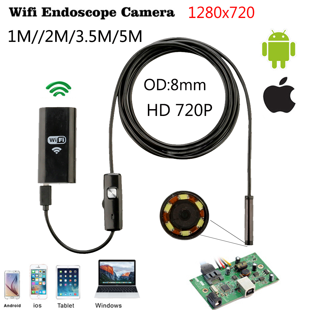 JCWHCAM Wifi Endoscope iOS Android 1/3/5/7/10m Soft cable 8mm HD 720P Borescope pipe mini Camera Snake Camera PCB Car Inspection 10m wifi usb waterproof borescope hd endoscope inspection camera for android ios