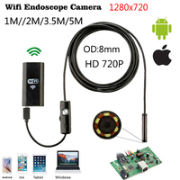 JCWHCAM Wifi Endoscope IOS Android 1 3 5 7 10m Soft Cable 8mm HD 720P Borescope