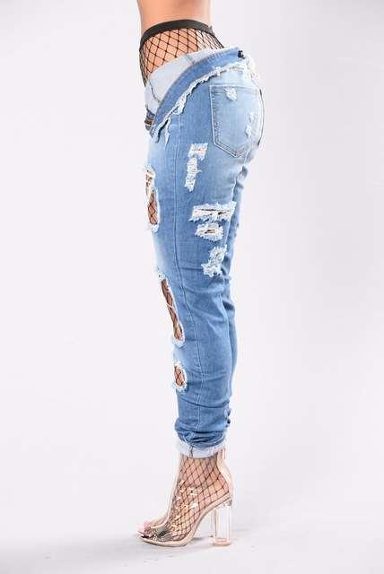 zapatos de separación 43cfc 1dbb3 2017 Delgado Era Delgada Calcetines Rotos Vaqueros Mujeres Agujerean los  pantalones Elásticos Jeggings Denim Fresco Capris de Cintura Alta  pantalones ...