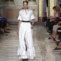 La más nueva Manera 2016 Runway Maxi Vestido de Las Mujeres de Alta Calidad Sólido del Algodón de la Camisa con Botones Cuello En Cascada de Volantes Vestido Largo Blanco