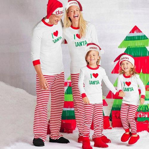 2017 family matching christmas pajamas sets xmas i love santa t shirt striped pants sleepwear family clothing pjs sets in matching family outfits from