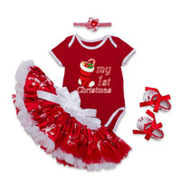 Newborn Baby Clothing Sets 4pcs Snowman Reindeer Christmas Tree And Socks Infant Baby Clothes Suit Party