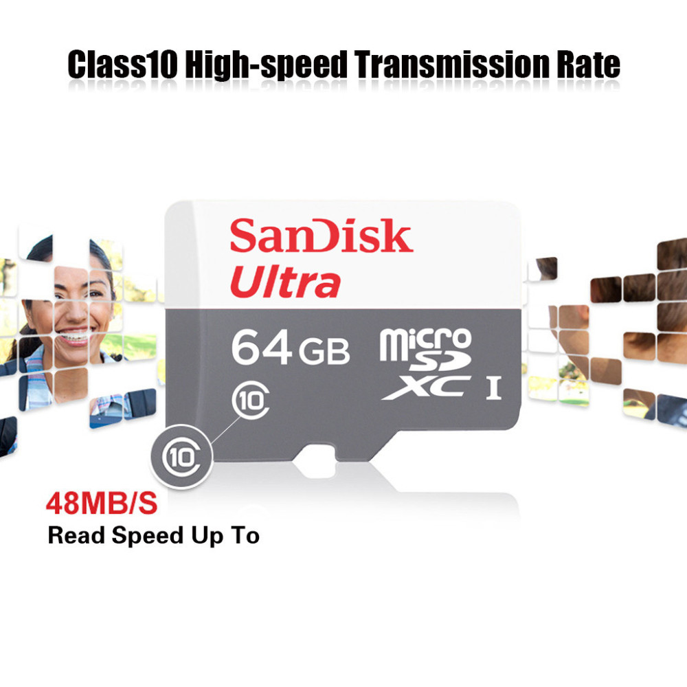 Buy Original Sandisk Ultra Micro Sd Card Sdhc Speed 48mb S Uhs I 8gb Sdxc Memory Cards 64gb Class 10 Tf 64g With Adapter From