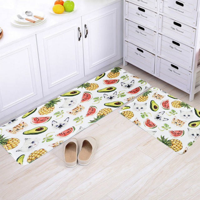Kitchen Decor Carpets Fruits Leaves Cat Printed Floor Mats Bathroom Welcome Doormats Mat For Living