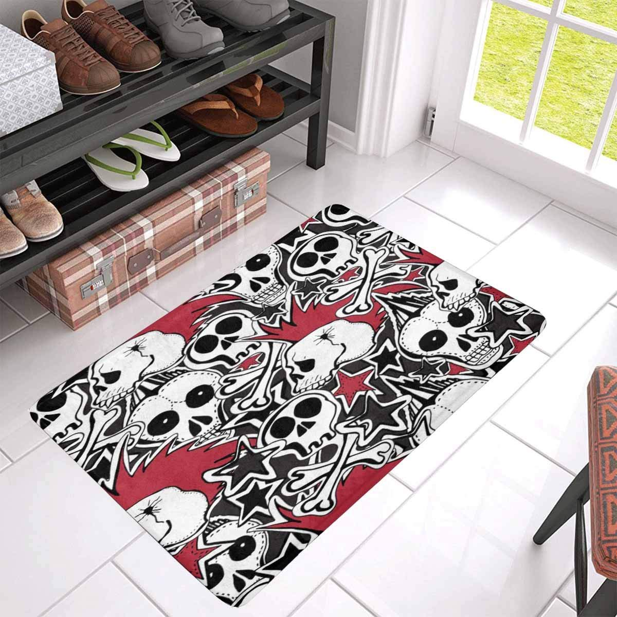 Funny Carpet Skull Printed Home Door Front Non Slip Mat Entrance Living Room