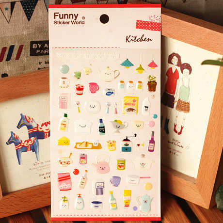 Korean Sticker Kitchen Series Cute Diary Stickers DIY Scrapbooking Post It Journal Photo Album Decorative