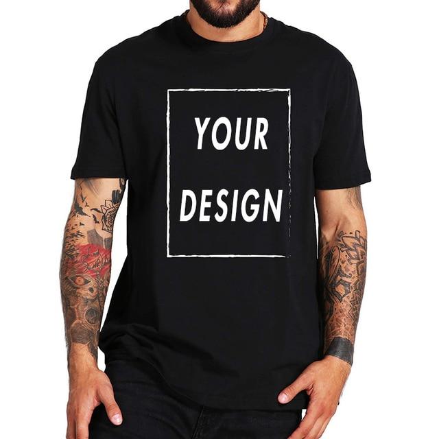 AB Boyutu 100% Pamuk Özel T Gömlek Yapmak Tasarım Logo Metin Fotoğrafları Yaz Üstleri Tee Kağıt Gömlek için Erkekler