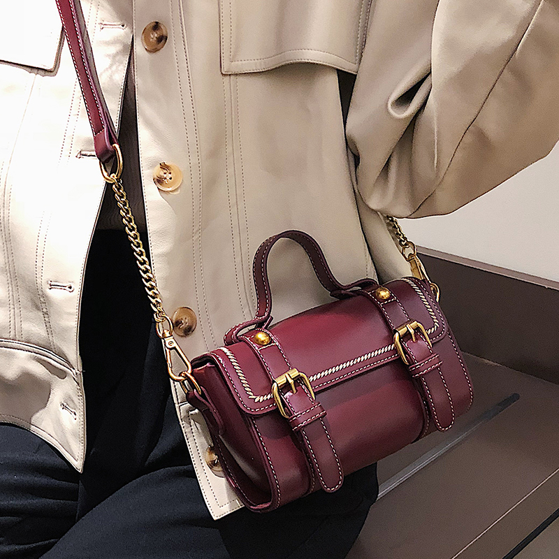 Cuoio Progettista Messaggero Borse Retro Red Black Del Cinture Tracolla Dell'unità Bag Elaborazione A Donne Delle Maniglia coffee Crossbody Borsa Eleganti brown wine Flap Boston Piccola Di Modo Superiore nqq7rz8Y