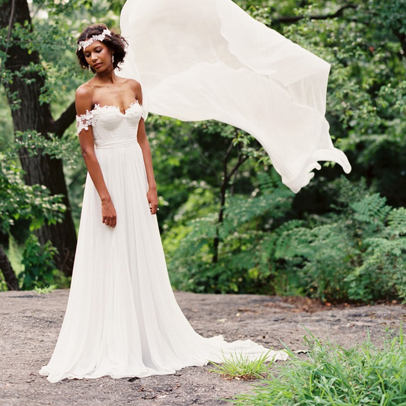 ADLN Bohemian Cheap Wedding Dresses Romantic Off-the-Shoulder Detachable Train Chiffon Beach Bridal Gown Robe De Mariage