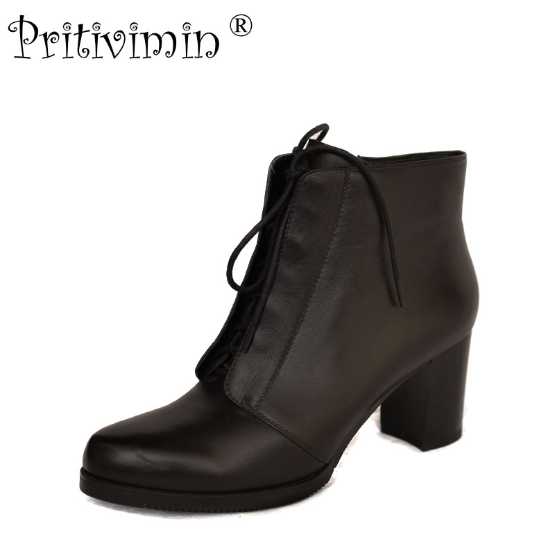 2018 winter ladies warm lined shoes woman black genuine leather thick high heel lace up ankle boots booties Pritivimin FN61
