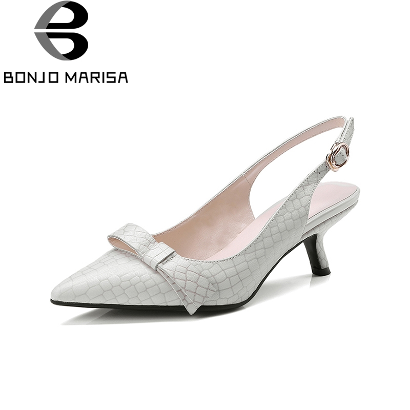 BONJOMARISA 2018 Genuine Leather Bowtie High Heels Pumps Pointed Toe Women Shoes Woman Buckle Strap Pumps Woman Size 34-39 women pumps flock high heels shoes woman fashion 2017 summer leather casual shoes ladies pointed toe buckle strap high quality