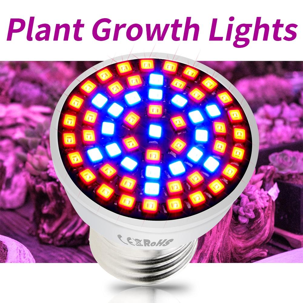 220V GU10 Led Indoor Growth Lamp B22 Grow Led Bulb E27 Greenhouse Phytolamps 48 60 80les MR16 E14 UV/IR Plant Light Hydroponics