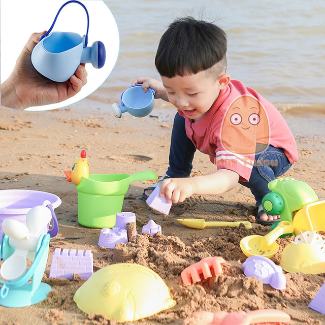 Summer Silicone Soft Baby Beach Toys Kids Mesh Bag Bath Play Set Beach Party Cart Ducks Bucket Sand Molds Tool Water Game 2