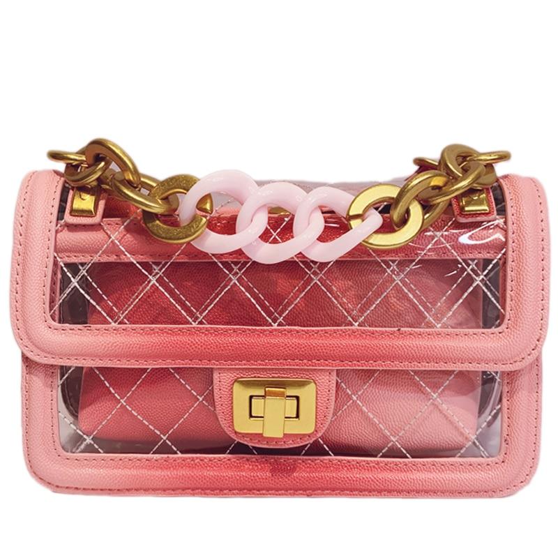 2019 été gelée épaule sac à bandoulière femmes coloré canal sacs à main de luxe marque chaîne Transparent sacs Messenger sac clair