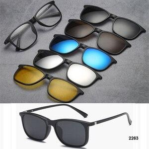 Image 2 - 5 in 1 occhiali da sole da uomo Clip magnetica su occhiali da vista polarizzati guida pesca per miopia montatura per occhiali