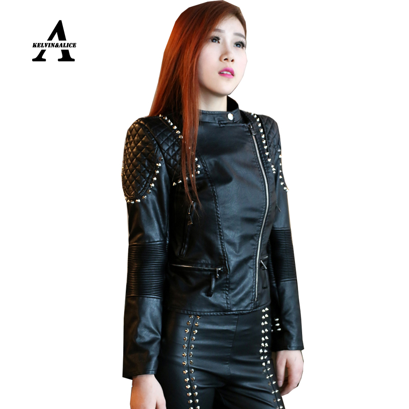 Black Leather Jacket Women Punk Rivets Studded Motorcycle Spiked PU Retro Jackets Cazadora Cuero ...